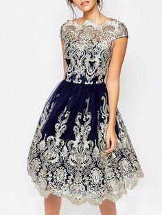 Embroidery Cap Sleeve Party Vintage Dress - BLUE S Tutu Dresses eb606277c