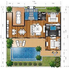Master Plan Villa Type B House Layout Plans, Dream House Plans, Modern House Plans, Small House Plans, House Layouts, Modern House Design, House Floor Plans, Home Design Plans, Plan Design