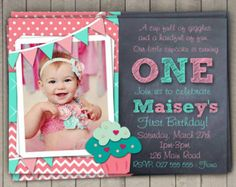 Girls 1st Birthday Invitation / First Birthday Cupcake  Invitation / Printable Download /  Pink Aqua Cupcake Invite / Digital Chevron (6)