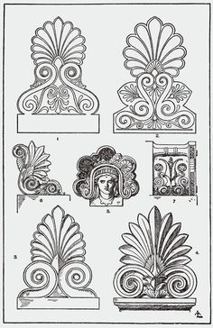 Architectural Ornament - Acrotirion examples - It is thought that the palmette originated in ancient Greece years B., and has influenced Roman art. Acrotiri were used to decorate door portals as seen in Pompeiian wall paintings. Architecture Antique, Ancient Greek Architecture, Architecture Tattoo, Roman Architecture, Architecture Design, Baroque Frame, Art Nouveau, Motifs Textiles, Greek Design