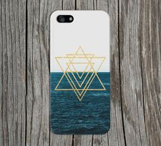Gold Glitter Geometric Triangles x Ocean Horizon for iPhone and Samsung