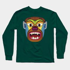 Gorilla ethnic mask long sleeve tee shirt