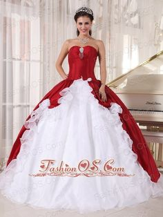 Wonderful Wine Red and White Quinceanera Dress Sweetheart Organza and Taffeta Beading Ball Gown  http://www.fashionos.com  This beautiful quinceanera gown features a light sweetheart neckline on the corset bodice with a hand of clear beading between the bust.A slit is cut in the middle of the skirt which creates the flounced look of the skirt., just so special to make you stand out in the party!
