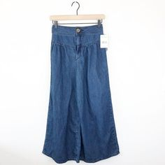 culottes on Poshmark Cropped Jeans, Bell Bottom Jeans, Mom Jeans, Free People, Brand New, Denim, High Waist, Polka Dots, Pants