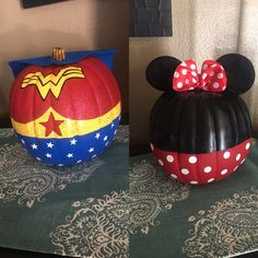 Wonder Woman and Minnie Mouse pumpkins for my girls pumpkin painting Pumpkin Painting, Pumpkin Art, Pumpkin Carving, Pumpkin Ideas, Pumpkin Designs, Holidays Halloween, Halloween Treats, Halloween Diy, Happy Halloween