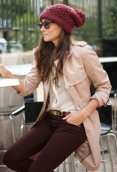 Shop this look for $197:  http://lookastic.com/women/looks/trenchcoat-and-dress-shirt-and-skinny-jeans-and-beanie-and-belt/1069  — Tan Trenchcoat  — White Silk Dress Shirt  — Burgundy Skinny Jeans  — Burgundy Beanie  — Brown Leather Belt