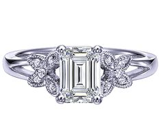 Emerald Cut Diamond Butterfly Engagement ring split band in 14K White gold-squealed like a pig when I saw this!!!!