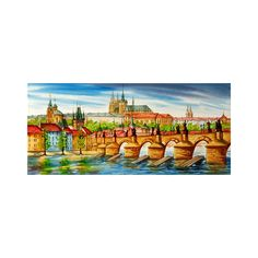 """Charles Bridge and Prague castle, St. Nicholas Church and St. Vitus Cathedral Original watercolor painting 20x9"""" cityscape"""