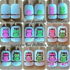 Nail Art Designs In Every Color And Style – Your Beautiful Nails Owl Nail Art, Owl Nails, Animal Nail Art, Minion Nails, Owl Nail Designs, Painted Nail Art, Autumn Nails, Creative Nails, Nail Tutorials