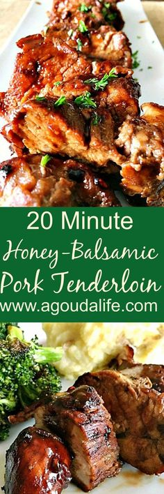 20 Minute Honey Balsamic Pork Tenderloin ~ 20 minutes from stove to table for this delicious, flavor-packed any night pork. #pork #easyporkrecipes #weeknightdinners