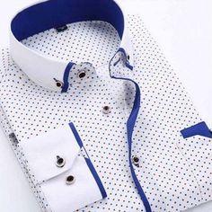Camisa Casual Fashion Premium Estampado Moderno - Puntos Coloridos - Blanca / Azul — CamisasMasculinas.com - Lo Mejor de la Moda Masculina