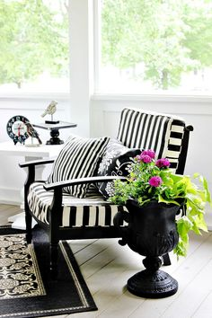 B & W stripes brighten up this wonderful antique arm chair, xo Elle @ LeauArc