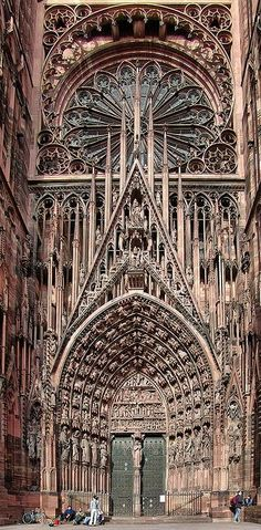 Cathedrale de Strasbourg, France...been there and it was spectacular! At 11PM they did a light show on the stained glass window and it looked like a kaleidoscope.