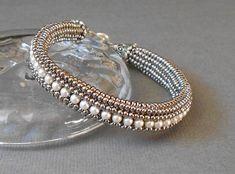 pearl beadwork bracelet by beadnurse on Etsy, $40.00