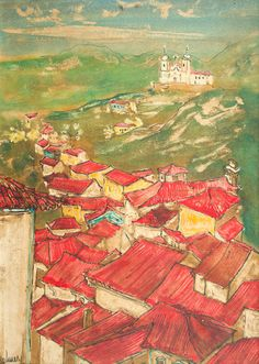 """HOLMES NEVES (1925 - 2008) Título: """"Ouro Preto"""" Técnica: óleo sobre eucatex Medidas: 32 x 22 cm Assinatura: canto inferior esquerdo Data/Local: 1964"""