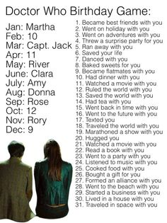 Doctor Who birthday game. Comment your result? Rose lived in a house with me...