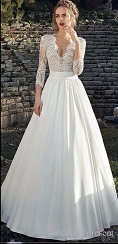 Wholesale wedding dresses cheap, black wedding dresses and indian wedding dresses on DHgate.com are fashion and cheap. The well-made 3/4 long sleeves lace wedding dresses sexy v neck garden bridal gowns chiffon spring 2017 new wedding wear sold by wedding_present is waiting for your attention.