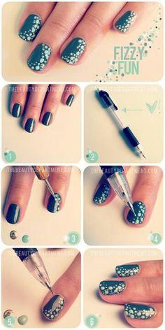 Fizzy fun teal nails Nail Art Diy, Easy Nail Art, Cool Nail Art, Diy Nails, Nail Nail, Nail Polish, Nail Pen, Teal Nails, Nail Art Tricks