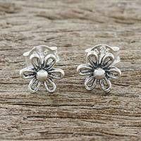 Floral Motif Sterling Silver Stud Earrings from Thailand Silver Nose Ring, Sterling Silver Earrings Studs, Earring Crafts, Jewelry Packaging, Women's Earrings, Silver Jewelry, Fancy, Floral Motif, Thailand