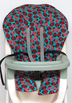 Graco  high chair cover, replacement cover, ship ready pad, cushion, ladybug ladybug on aqua by sewingsilly on Etsy