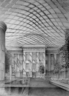 Architect Norman Foster, British Museum, London, drawing by Klara Ostaniewicz Building Drawing, Building Sketch, Norman Foster, Architecture Drawings, Architecture Old, Classical Architecture, London Drawing, Interior Design Presentation, Perspective