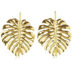 Oscar De La Renta Women Monstera Palm Leaf Earrings (1,060 PEN) ❤ liked on Polyvore featuring jewelry, earrings, gold, gold jewelry, palm tree jewelry, earring jewelry, gold tone earrings and gold earrings jewelry
