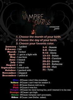 Haha i've got this: i ran from Katherine because i don't like mondays.>>> I cried with Stefan because I don't like Mondays.