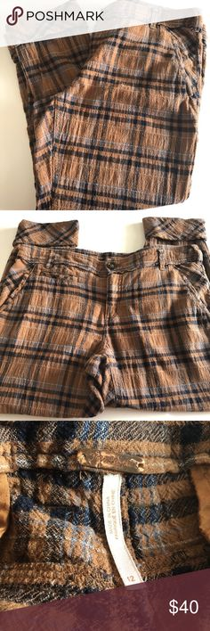 Free People Brown Plaid Cropped Pants 12 Super cute pants in excellent preloved condition they are 99% cotton 1% spandex the waist measures 18.5 in flat the rise is 10in the inseam is 25in with a 3in cuff;) the ankle is 7in flat any questions at all please ask D2 Free People Pants Ankle & Cropped