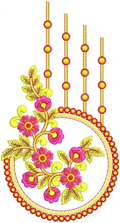 Latest Embroidery Designs, Border Embroidery Designs, Embroidery Flowers Pattern, Embroidery Works, Flower Patterns, Machine Embroidery Designs, Hand Embroidery, Motif Design, Textile Design