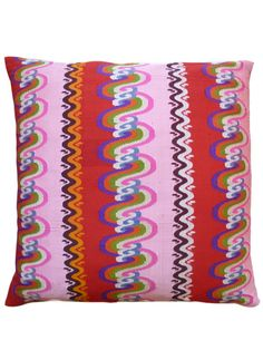 Pillow Hand Woven Burmese 10 Ply Silk Pink and Red.