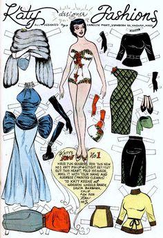 Katy Fashion vintage 50s paper doll