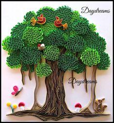 Tree, leaves, birds, mushrooms, flowers, butterfly, bunny, landscape