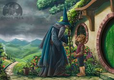 "Fanart of ""The Hobbit"" Gandalf and Bilbo Hobbit Book, Hobbit Art, The Hobbit, Fellowship Of The Ring, Lord Of The Rings, The Misty Mountains Cold, Jrr Tolkien, Gandalf, Fantasy Landscape"