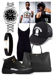 """• B a p e • Contest •"" by sarajordan2993 on Polyvore featuring A BATHING APE, Eloquii, Rolex, Boohoo and Prada"