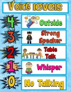 use in your superhero themed classroom. I use one of these voice levels in my classroom. All I do is use a clothespin to designate the noise level I want in the room. The students really seem to respond well to this visual. Kindergarten Classroom, Future Classroom, School Classroom, Classroom Themes, Superhero Classroom Decorations, Classroom Table, Preschool Bulletin, Classroom Rules, Superhero School Theme
