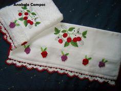.: Panos de cozinha com barrado de croche Towel, Dish Towels, Made By Hands, Towels, Articles