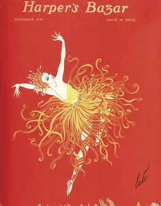 Vintage 1920 Harper's Bazaar Magazine Cover - A ballet dancer's dress explodes into a starburst of color. Very 'Firebird'.