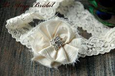 FREE SHIPPING/ wedding garter / Ivory garter / by LeAngeBridal, $19.50