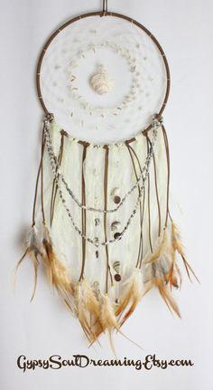 Brown & Cream Beach Themed Dream Catcher with Sea Shells and Feathers