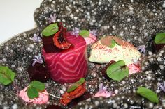 """HOTEL ENTRY:This is different rather than signature! From Gravetye Manor, Sussex - www.gravetyemanor.co.uk Beetroot cured """"Glenarm"""" Salmon, with beetroot infused horseradish cream and sorrel leaf sorbet Served on a squid ink tapioca crisp"""