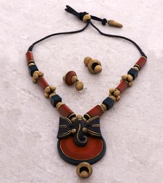 Red & Blue Hand Painted Elephant Terracotta Necklace Set
