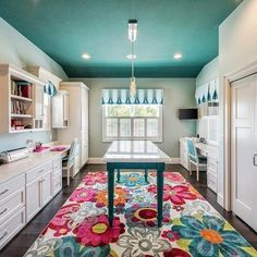 Sewing room idea Sewing Room Design, Craft Room Design, Craft Room Decor, Sewing Rooms, Home Decor, Craft Space, White Craft Room, Craft Room Lighting, Sewing Studio