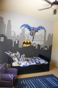 Love my son's Batman room! Pottery Barn Kids bedding, batman light and anywhere chair! I had skyline mural painted and Batman decal also from PBK! :)