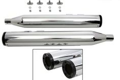 Chrome Muffler Set with Six Screw Black End Caps Harley Davidson FLT FLH 95-UP #VTwinManufacturing