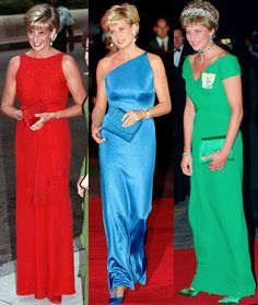 """royal-roaster: """" Di in vivid colours (with matching clutch and heels) """" Princess Diana Dresses, Princess Diana Fashion, Princess Diana Pictures, Princess Diana Family, Estilo Real, Iconic Dresses, Lady Diana Spencer, Royal Fashion, Her Style"""