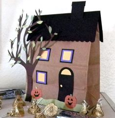 Image result for brown paper lunch bag house craft