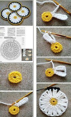 Art Au Crochet, Beau Crochet, Crochet Diy, Crochet Flower Tutorial, Crochet Motifs, Crochet Flower Patterns, Crochet Stitches Patterns, Crochet Squares, Crochet Gifts