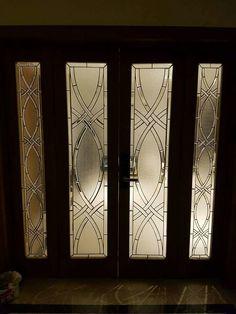 Etched Glass Door, Sliding Glass Door, Glass Etching, Glass Doors, Window Design, Door Design, Steel Gate Design, Bedroom Cupboard Designs, Sandblasted Glass