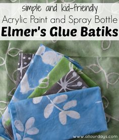 Simple and Kid Friendly Elmer's Glue Batiks with Acrylic Paint and Spray Bottles @ AllOurDays.com...a great summertime craft!