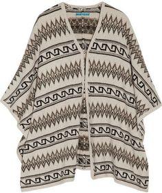 ShopStyle: Alice + Olivia Intarsia wool-blend poncho